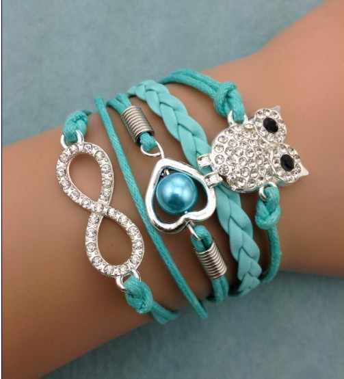 1pc infinity bracelet, heart shaped pearls bracelet,wedding bracelet owl bracelet,leather bracelt,for 3049 mini order 10$