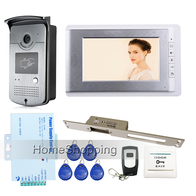 Brand New 7 Color Screen Video Door Phone Intercom Entry System + RFID Access Camera + 250mm Electric Strike Lock FREE SHIPPING new 7 inch color video door phone intercom system 2 monitors rfid access door bell camera 250mm long strike lock free shipping