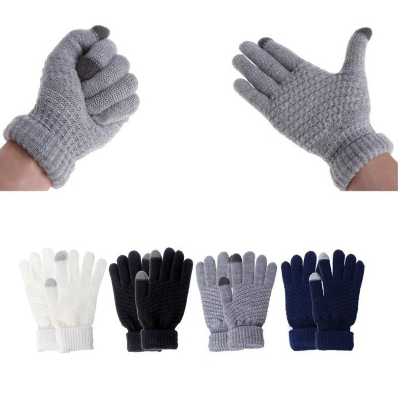 Fashion Elegant Female Wool Knitting Touch Screen Gloves Winter Women Warm Full Finger Leather Gloves