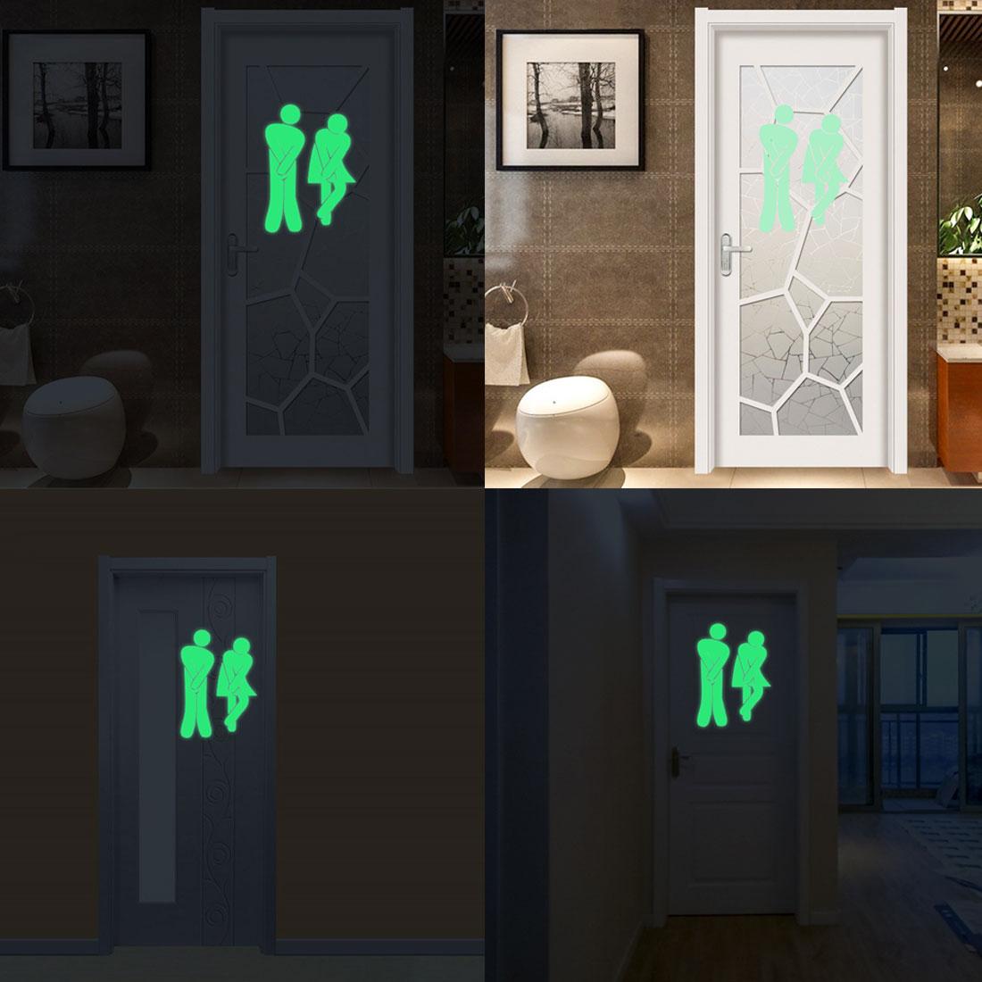 Waterproof Luminous Toilet Sticker Glow In The Dark Bathroom Door Sign Sticker WC Wall DIY Indicator Label