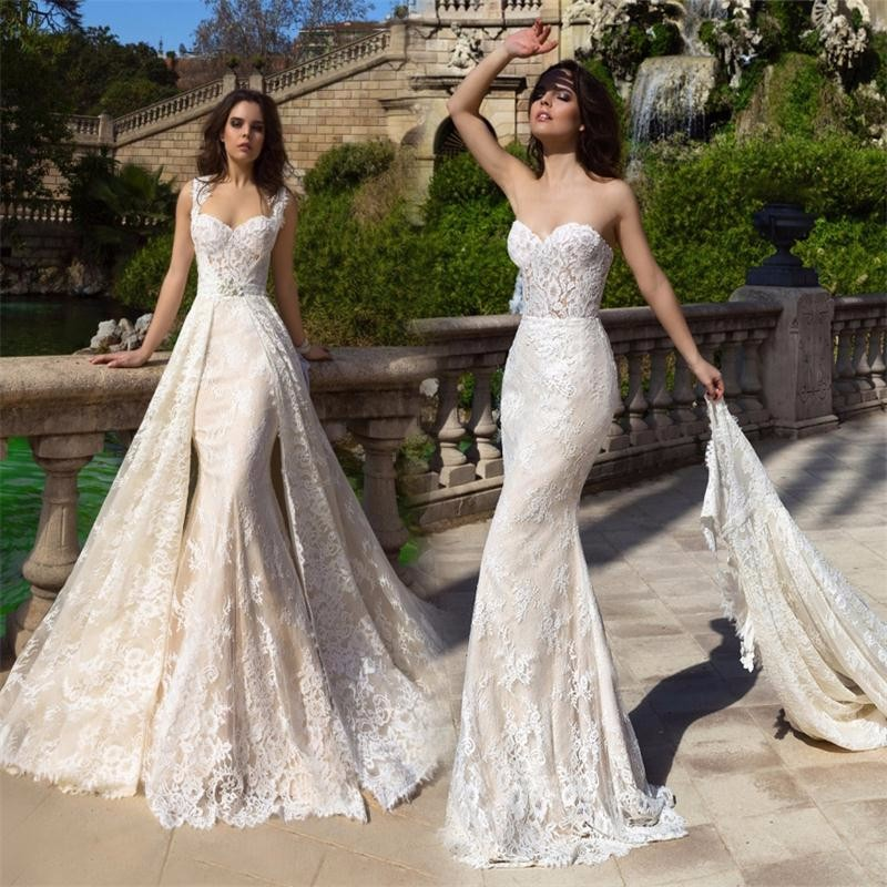 2019 New Champagne Mermaid Wedding Dresses with Detachable Train Bridal Gowns Plus Size Robe De Mariee 2017 Wedding Dress