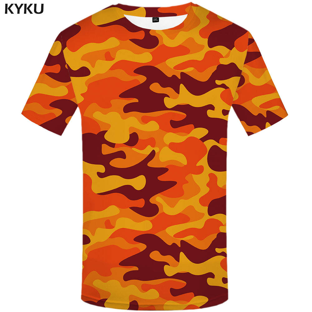 KYKU Orange Camouflage T Shirt Men Camo Tshirts Casual Military Anime Clothes Colorful T-shirts 3d Gothic Tshirt Printed