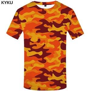Kyku laranja camuflagem t camisa masculina camo tshirts casual militar anime roupas coloridas camisetas 3d gótico tshirt impresso