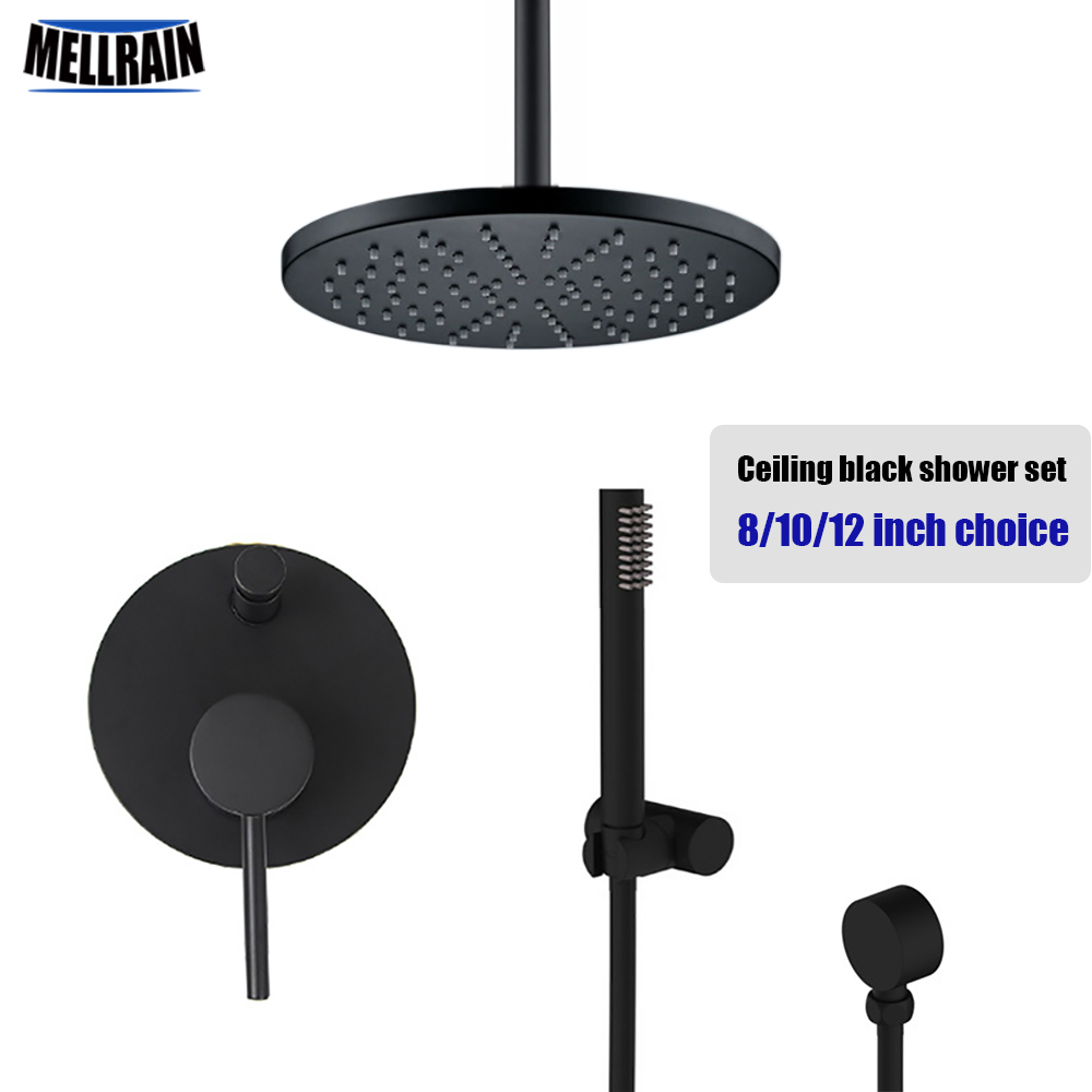 Quality brass black ceiling mount shower set round rain shower head 8 10 12 inch choice bathroom water mixer bath faucet set sognare new wall mounted bathroom bath shower faucet with handheld shower head chrome finish shower faucet set mixer tap d5205