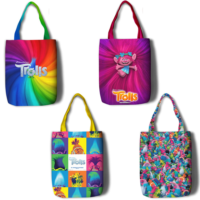 45 35cm Trolls Canvas Gift Bags Ping Bag For Party Decor Poppy Branch High Quality