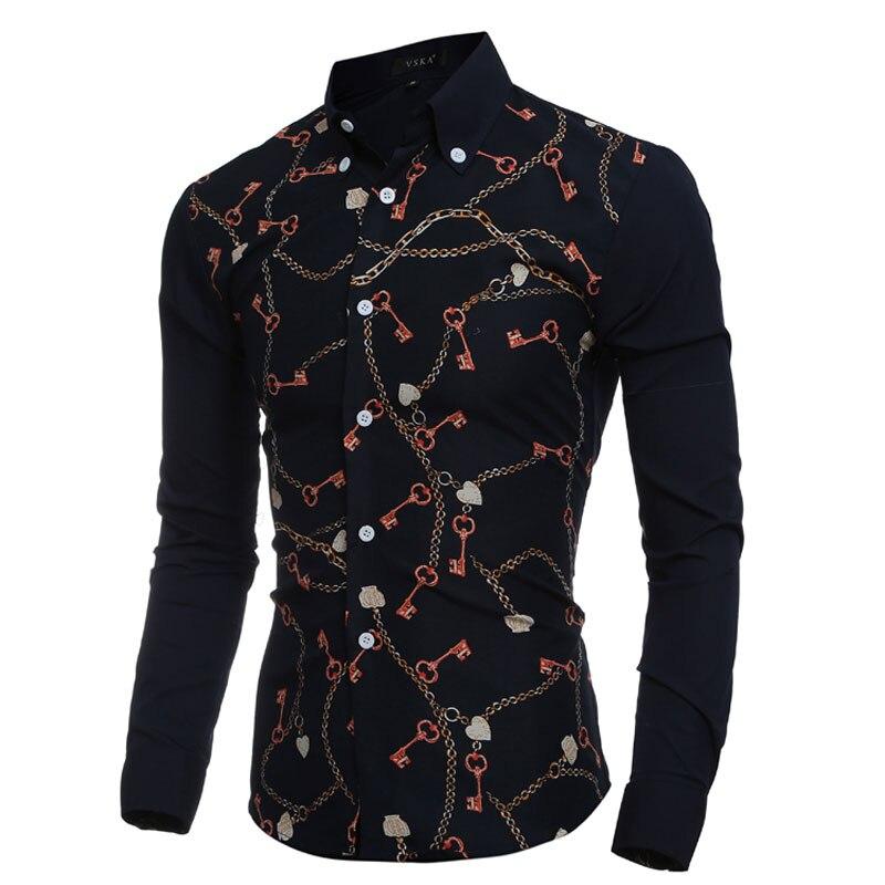 2016 Mode Schlüssel & Kette Drucke Mens-smokinghemd-lange Sleeve Slim Fit Casual Social Camisas Masculinas Für Mann Chemise Homme