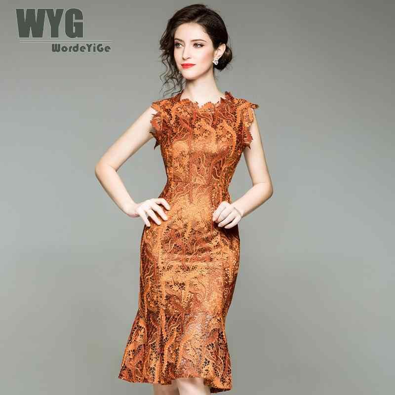 6c8cf8b6cc2 WYG Винтаж большой Размеры платье для Для женщин 2018 осень дворец Стиль  листьев Вышивка рукавов тонкий