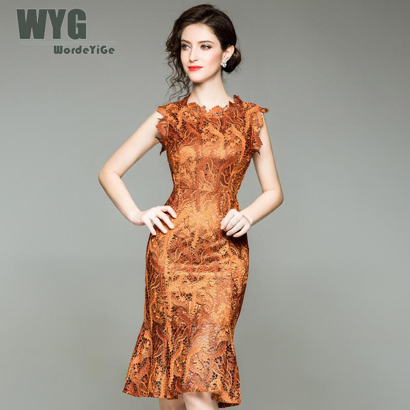 2018 Rouge Sans Mince Style Robe Palais Grande Orange Feuille Pour Vintage Automne Sirène Broderie Red Wine Robes Manches orange Taille Wyg Femmes Dentelle 7awYqz