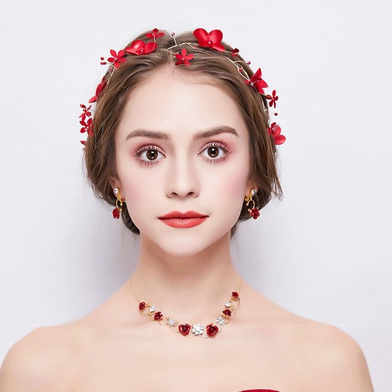 Корейский свадебный головной убор комплект ювелирных изделий ожерелье серьги красный 2018 новые аксессуары ручной работы свадебные весенни