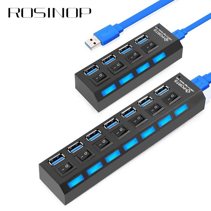 Rosinop High Speed 4 7 Ports USB Splitter Mini Multi USB Hub 3.0 Switch Hab USB Hub With Power Adapter Computer PC Accessories