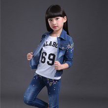 Spring fall Style Girls flowers children clothing set Denim jacket Jean pant t shirt 3 piece