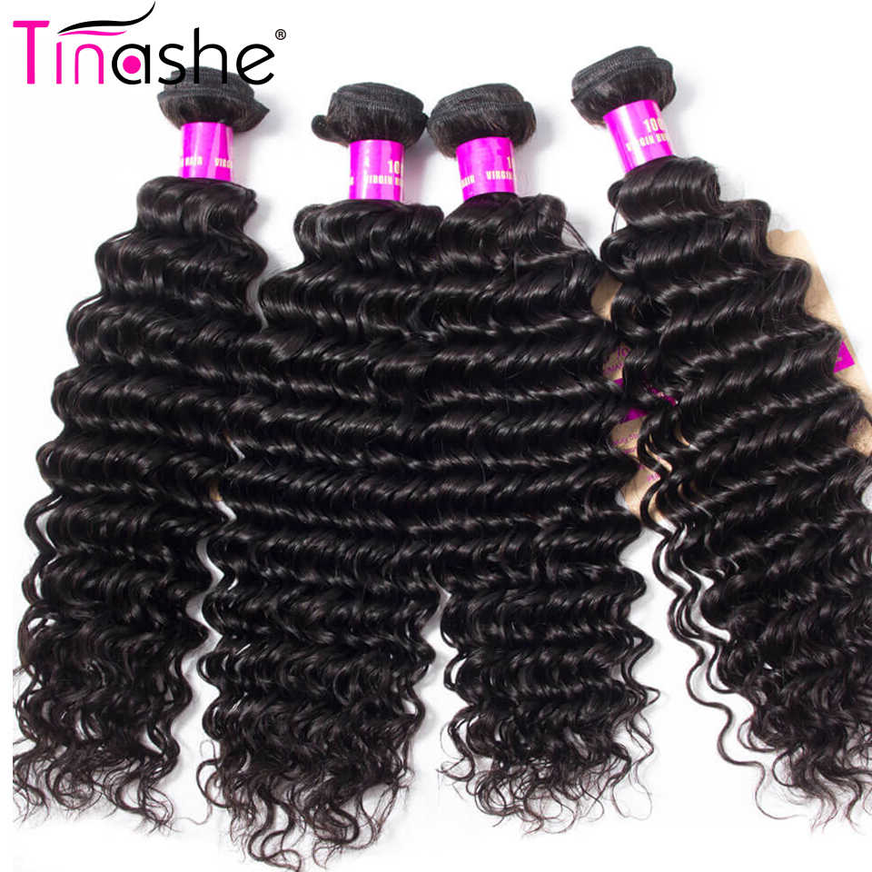 Tinashe Hair Brazilian Hair Weave Bundles  Remy Human Hair 4 Bundles Natural Color Hair Extension Deep Wave Bundles