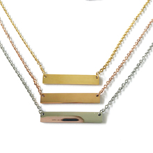 20pcs/lot 18 inch Stainless Steel Blank Bar Pendant Necklace Mirror Polish Charm Necklaces Women Men Jewelry