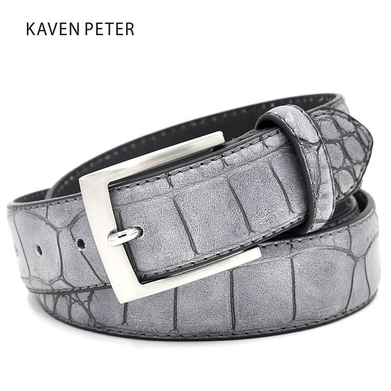 Waist-Belts Faux-Crocodile-Pattern Split Designer Fashion Mens Luxury