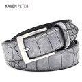 Mens Cinturones de Moda de Imitación de Cocodrilo Patrón Cinturones Con Split Accesorios Cinturones de Correa de Piel de Cocodrilo de Lujo de Los Hombres Del Diseñador