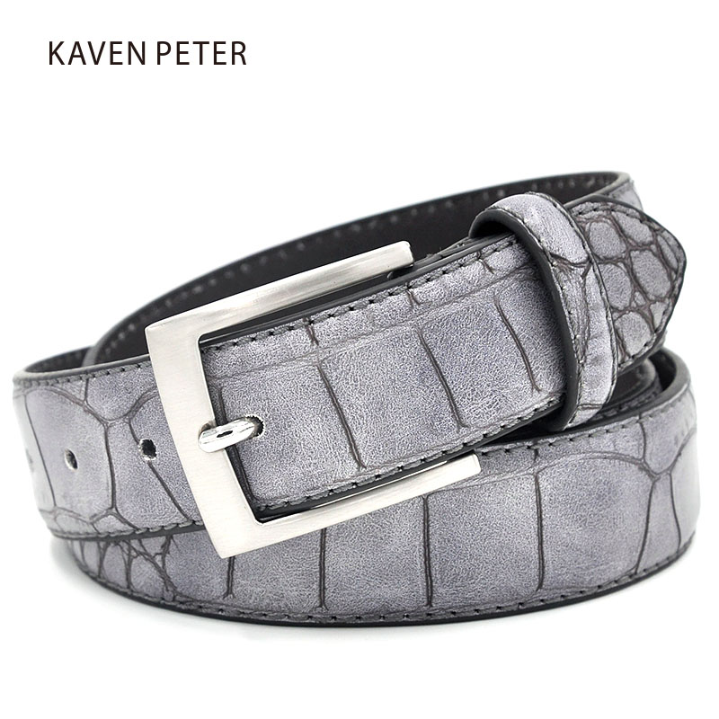 Faux Crocodile Pattern Belts With Grey Color Split Leather Lining Luxury Crocodile Belt For Men Directly Factory Price Free Ship