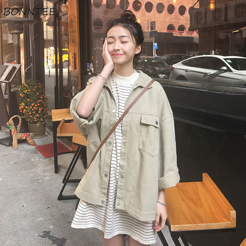 Jackets   Women Solid Loose Pockets Single Breasted Womens   Basic     Jacket   Trendy Leisure Students Simple All-match Korean Style Chic