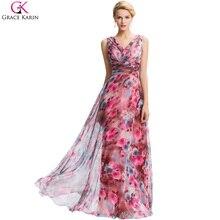 Grace Karin Dresses 2016 New Floral Print Evening Dresses Long 2016 V Neck Chiffon Party Gowns Vestido De Festa Formal Dress 058