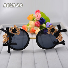Belmon Fashion Baroque Sunglasses Women Brand Designer Round Sun Glasses For Ladies UV400 Shades Oculos de sol Female RS689