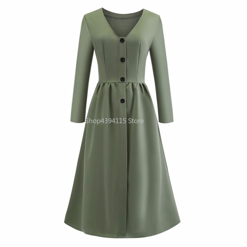 2019 Wanita Musim Semi Musim Gugur Vintage Elegan A-Line Gaun Pinup Pesta Bisnis Ayun Lengan Panjang V Leher Tombol Vestidos