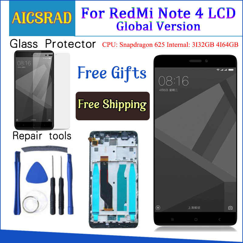 Getest Lcd-scherm + Frame Voor Xiaomi Redmi Opmerking 4 Global Versie Snapdragon 625 Touch Screen Lcd Digitizer Redmi Note 4X