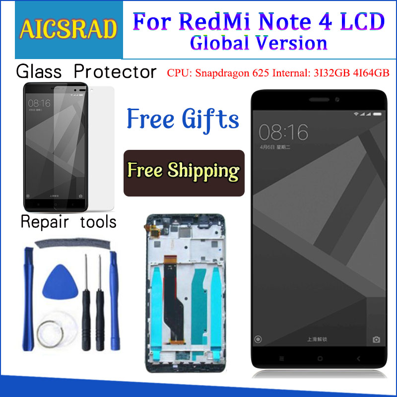 Getestet LCD Display + Rahmen Für Xiaomi Redmi Hinweis 4 Globale Version Snapdragon 625 Touchscreen LCD Digitizer Redmi Note4 4 GB Teile