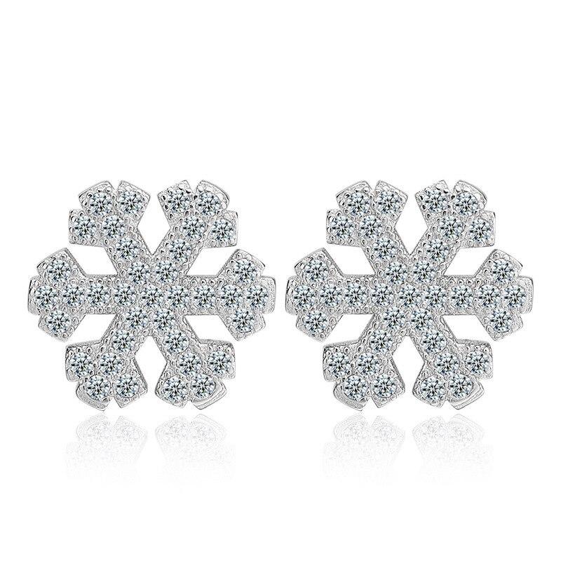 100 925 sterling silver fashion shiny cz zircon snowflake ladies stud earrings women jewelry female birthday gift wholesale in Stud Earrings from Jewelry Accessories