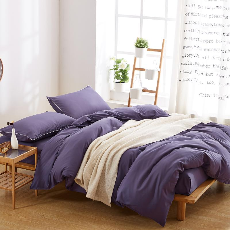 Pure Violet bedding set 3/4pcs adult bed linen set Japan style duvet cover Brush Microfiber bed set Autumn bedclothes flat sheet