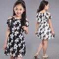 Adolescentes Vestidos de Meninas de Verão 2016 das Crianças Roupas Crianças Flor Vestido de Chiffon princesa Vestidos Para 7 Anos de Idade 8 9 10 11 12 Anos