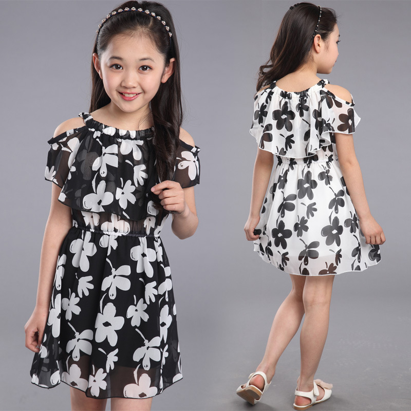 Teenage Girl Kjoler Sommer 2016 Børnetøj Kids Flower Dress Chiffon Prinsesse Kjoler For Alder 7 8 9 10 11 12 År