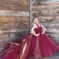 Beautiful Girls Burgundy Dresses with Train Tulle Princess Lace Strap Kids Prom Dress for Wedding Party Child Costume Tutu Dress
