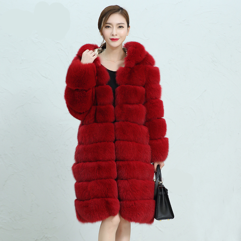 90cm X-long Real Fox Fur Coat For Women,Winter Warm Thick Jacket,Rich Imported Fur Outwe ...