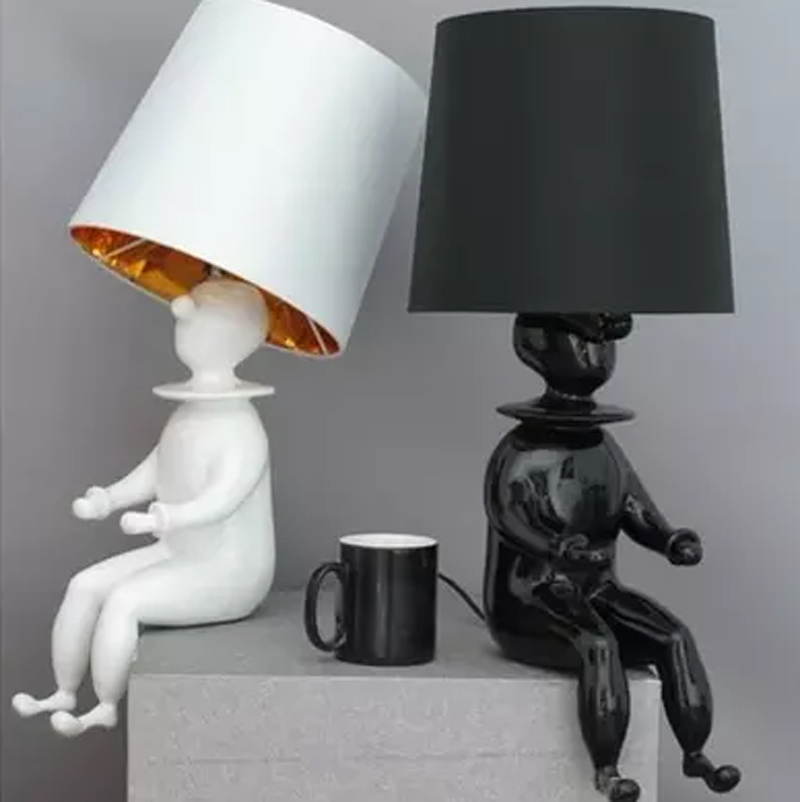 ZYY Modern European Bedroom Living Room Art Kids Room Clown Table Lamp Creative Personality Bedside Table Lamp With LED Bulb
