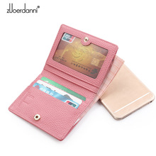 Women Genuine Leather Wallet Lady Cow Natural Leather Mini S