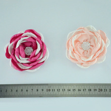 Yundfly 12pcs/lot 3.6 Two-tone Burning Flowers for Baby Adult Headband Clips Pearl Rose Flower Diy Kids Girls Hair Accessories two tone geo print headband