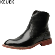 Autumn Winter Men's Ankle Boots British Style Genuine Leather Chelsea Boots Keep warm waterproof Boots botas hombre 3A