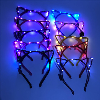 Women Girls LED Flashing Cute Pointed Cat Fox Ears Hair Hoop Glowing String Lights Plush Cloth Wrapped Headband Party Supplies