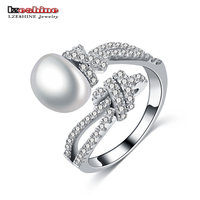 LZESHINE New Sparkling Pearl Open Rings For Ladies Clear CZ 100 925 Sterling Silver Jewelry For