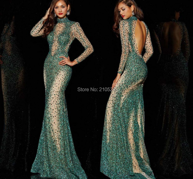 534543155ba extravagant sparkle nice high neck trumpet mermaid floor-length regular  shoulder crystal satin prom dresses