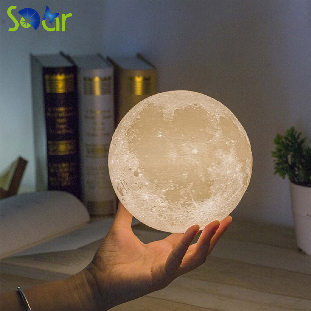 Creative 3D Print Moon Lamp with Touch-Sensing Switch 3D Lunar Lamp Color Changeable Night Lights For Decoration Gift