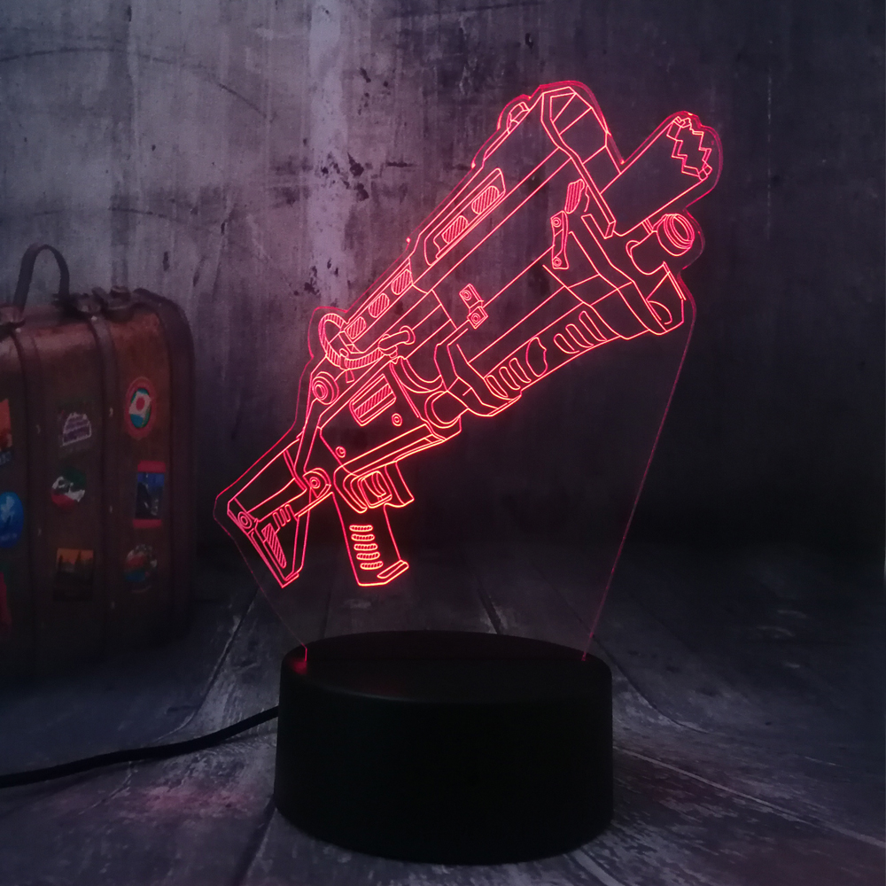 Novelty Cool Shot9un Battle Royale Game PUBG TPS LED Night Light Table Lamp RGB 7 Color Boys Kids Toy Home Decor Christmas Gift