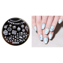 1pcs Cute Stamping Plate Cupcake/Icecream/Candy Cartoon Nail Art Stamp Template Image Transfer hehe055
