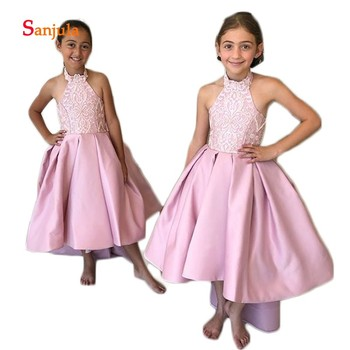 Halter Pink Satin Flower Girls Dresses High low Skirt Lace Top Sweet Dress Girls Pageant Party Dresses vestido flores D123