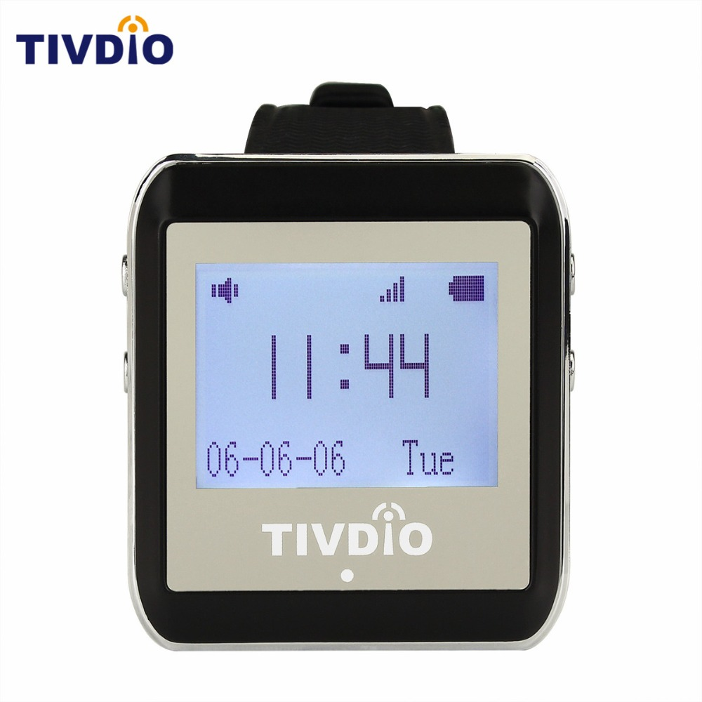 TIVDIO Black 999CH Wireless Restaurant Calling System Watch Wrist Receiver Host Watch Call Pager 433MHz Pager Watch Call F9404A