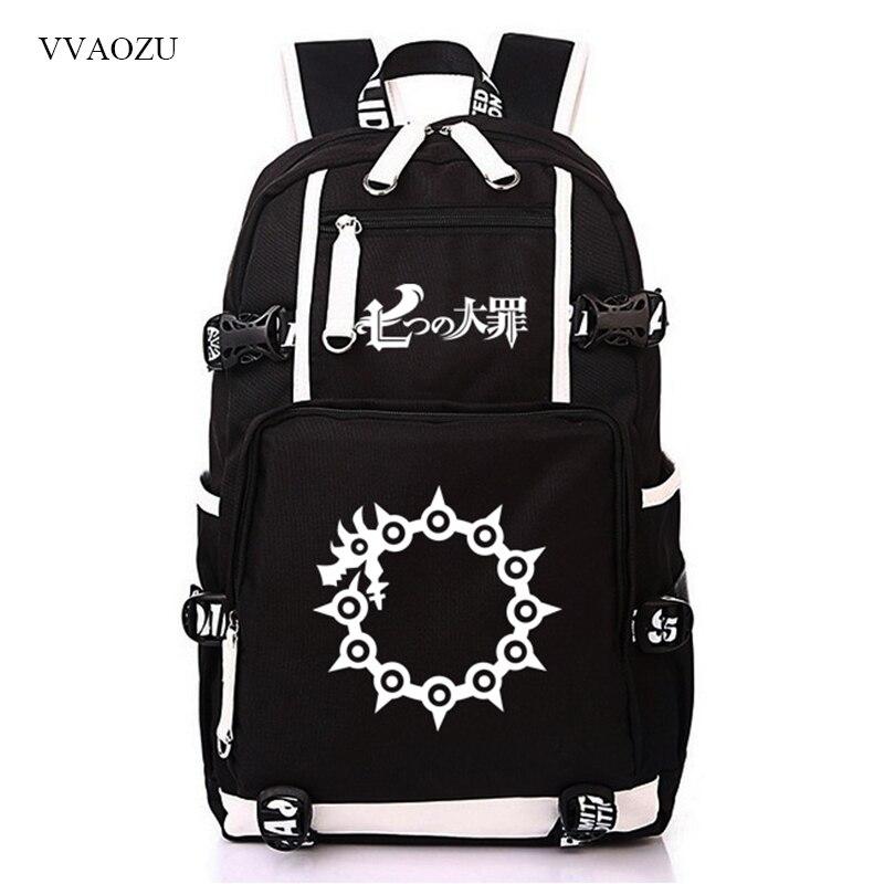 Anime Nanatsu No Taizai Cosplay Schoolbag The Seven Deadly Sins Cartoon Students Laptop Travel Shoulder Bag Backpack Bookbag