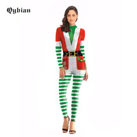 Qybian stripe Costume Cosplay Christmas Jumpsuit Christmas Costumes For Women Plus Size Bodysuit