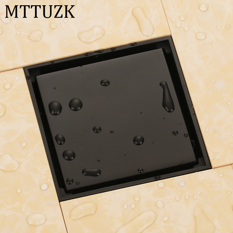 MTTUZK 4Oil Bubbed Bronze Black Brass Tile Insert Square Anti-odor Floor Drain Waste Grates Bathroom invisible Shower Drain