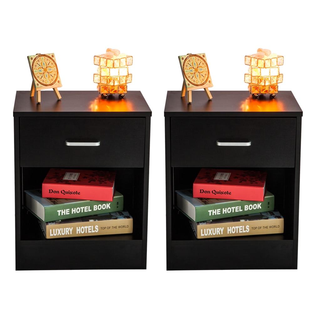 2Pcs Bedroom Furniture Night Stands with Drawer Black Minimalist Modern Storage Cabinet Living Room Bedside Cabinet 6 cubes black room cabinet bedsides storage cabinet furniture wardrobe