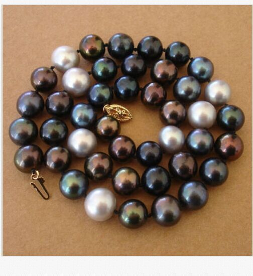 9mm tahitian black green grey multicolor pearl necklace 18inch925silver9mm tahitian black green grey multicolor pearl necklace 18inch925silver