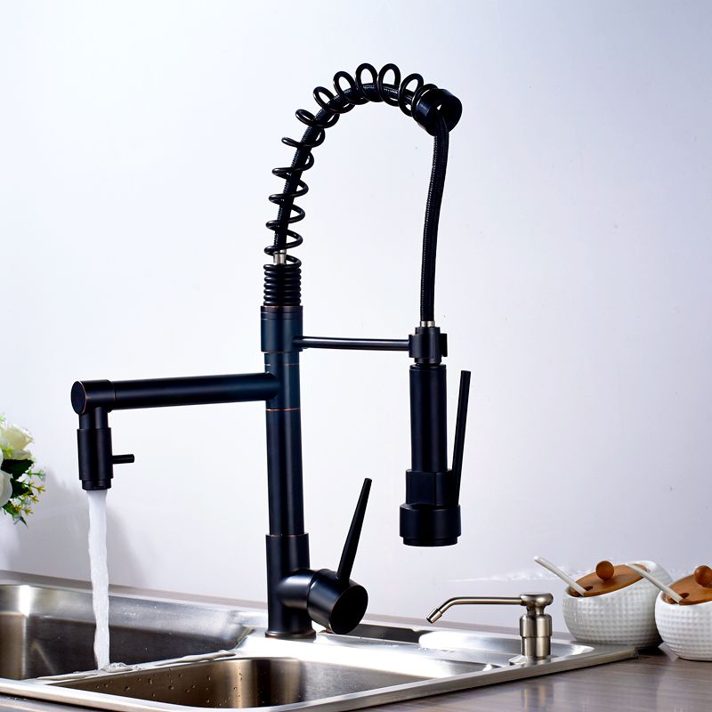 Oil-Rubbed-Bronze-Kitchen-Sink-Faucet-with-Down-Sprayer-Mixer-Taps-Bar-Sink-Faucet-2-functions